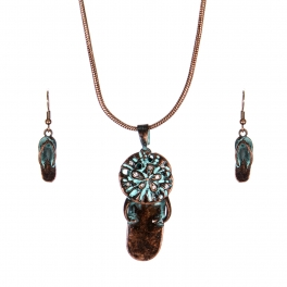 Wholesale WA00 Lovely flip-flop necklace earrings set OG