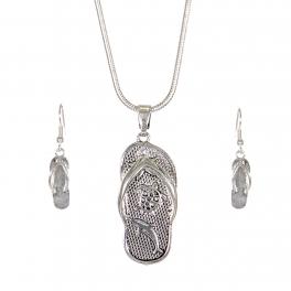 Wholesale WA00 Sea animals flip-flop necklace earrings set SV