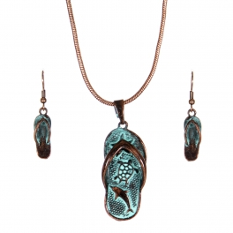 Wholesale WA00 Sea animals flip-flop necklace earrings set OG