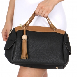 Wholesale S68C Top-handle handbag with Detachable Shoulder Strap Black