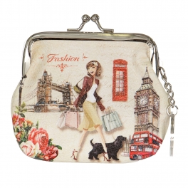 Wholesale L14A Woman in London print Buckle Coin purse