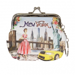 Wholesale L14A Woman in New york print Buckle Coin purse