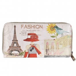 Wholesale P13B Woman in Paris print zipper W/ wristlet Strap purse
