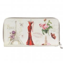 Wholesale P13B Lovely Paris print zipper W/ wristlet Strap purse