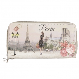 Wholesale P13B Woman in Paris print double zip around wallet