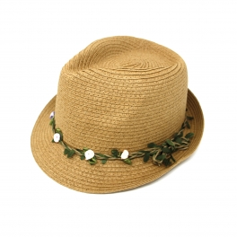 wholesale V29 Flower vine paper fedora hat Natural