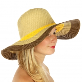 wholesale V00 Romantic stripe floppy sun hat Brown