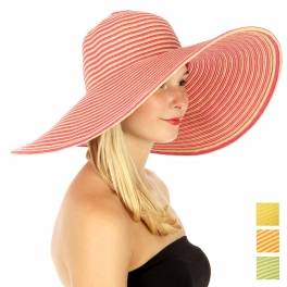 wholesale M20 Narrow stripe sun Hat Fuschia