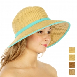 wholesaleV03 Color block straw hat Black/White