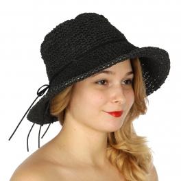 Wholesale V78B Bendable sun hat w/ faux suede ribbon Beige