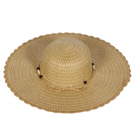 Wholesale V52B Fancy floppy straw sun hat w/ beaded band Black