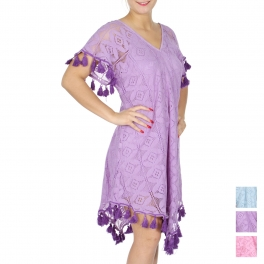 Wholesale G39E Cotton lace V-neck dress w/ tassels