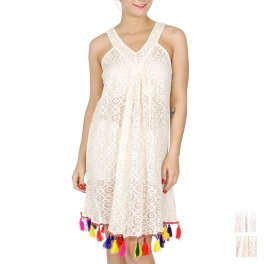 Wholesale G34C Cotton lace V-neck cover up w/ colorful tassels