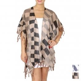 Wholesale J15E Checkerboard ruana w/ fringes