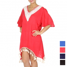 Wholesale G37F V-neck lace & tassels cover up