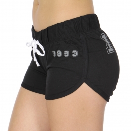 Wholesale R20C 1983 print drawstring french terry shorts Black/Heather Charcoal