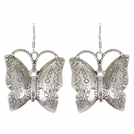 Wholesale L07C Bubble carved butterfly earrings SV