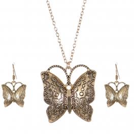 Wholesale M03A Carved butterfly pendant necklace set GD