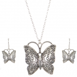 Wholesale M03A Carved butterfly pendant necklace set SV