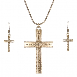 Wholesale L28C Carved cross pendant necklace set GB