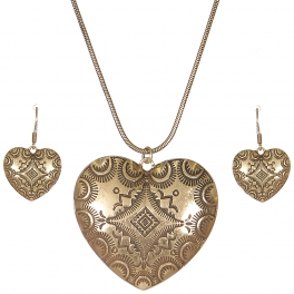 Wholesale L28A Carved heart pendant necklace set GB