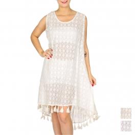 Wholesale G39D Cotton lace high-low dress w/ tassels
