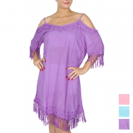 Wholesale G36F Cold shoulder solid short dress w/ embroidery & tassels