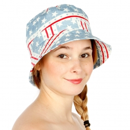 Wholesale V17 Red White and Blue Stars and Stripes Bucket Hat Blue