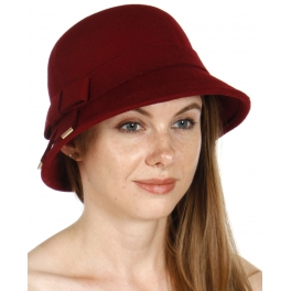Wholesale V36 Poly felt bucket hat with bow Black