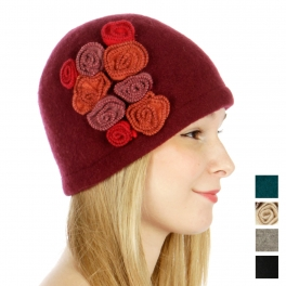 wholesale E03 Wool cloche cap rosettes Black fashionunic