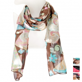 Wholesale O44B Paisley flower satin scarf