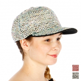 Wholesale T24A Bling Bling All over Rhinestone Hat ABBLK