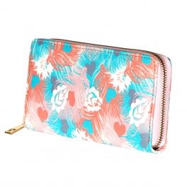 Wholesale R12B Zip around wallet Heart feather