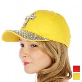 Wholesale V75 Studded rhinestone cross baseball cap RD