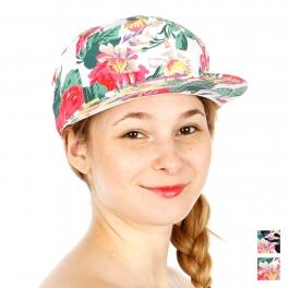 Wholesale R33A Floral Print Snapback Hat WHT