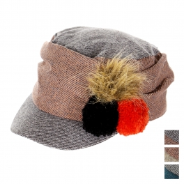 wholesale K77 Woven cadet cap with fur and knit poms Black