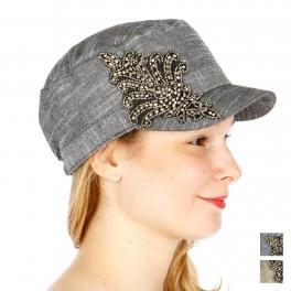 wholesale V14 Rhinestone feathered cotton cadet hat BK