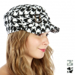 wholesale O07 Houndstooth cabbie knit hat Black