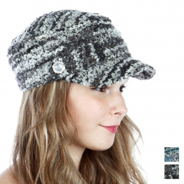 wholesale R50 Boucle knit cabbie hat Black fashionunic
