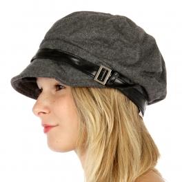 Wholesale V25 PU buckle band flannel wool cap Black