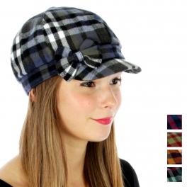 wholesale G09 Plaid cabbie hat ribbon Black fashionunic