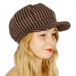 Wholesale V62A Pinstripe newsboy wool blend hat Black