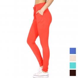 wholesale B34 Solid jogger pants w/ pocket Black