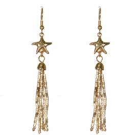 Wholesale WA00 Starfish & beads tassel earrings GD