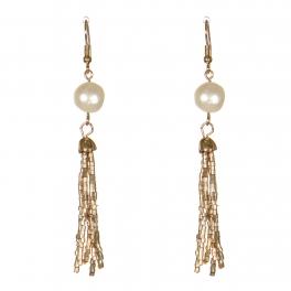Wholesale WA00 Faux pearl & beads tassel earrings GD