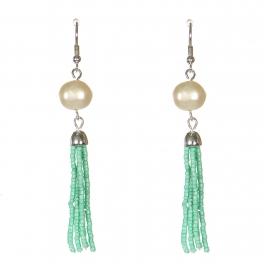 Wholesale WA00 Faux pearl & beads tassel earrings GN