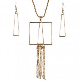 Wholesale WA00 Geometry & tassels necklace set GD