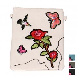 Wholesale O20D Rose embroidered mini faux leather crossbody bag