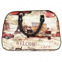 Wholesale P16B Vintage French weekender bag BLACK