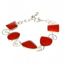 Wholesale WA00 Handemade geometric stone bracelet Red